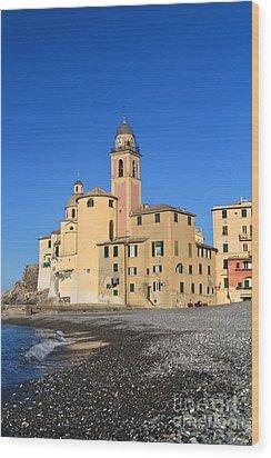 Wood Print featuring the photograph Camogli Seaside And Church by Antonio Scarpi