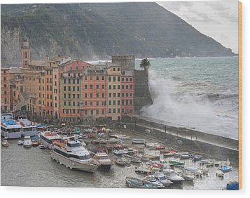 Wood Print featuring the photograph Camogli Under A Storm by Antonio Scarpi
