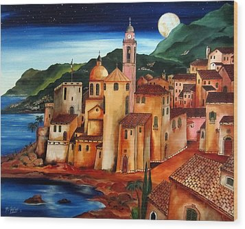 Camogli Under The Moon Wood Print