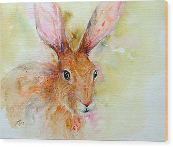 Camouflage Brown Hare Wood Print