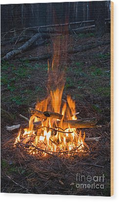 Camp Fire Wood Print by Boon Mee