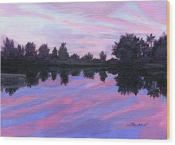 Wood Print featuring the painting Camp Sunset by Lynne Reichhart