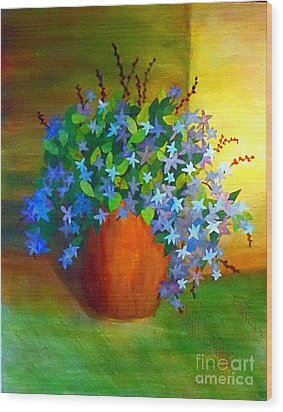 Campanula In Terra Cotta Wood Print by Desiree Paquette