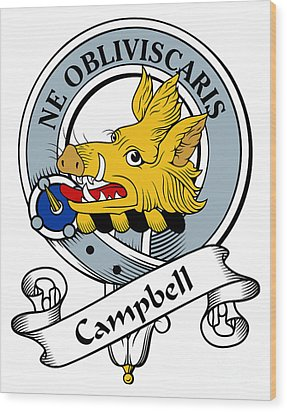 Campbell Clan Badge Wood Print by Heraldry