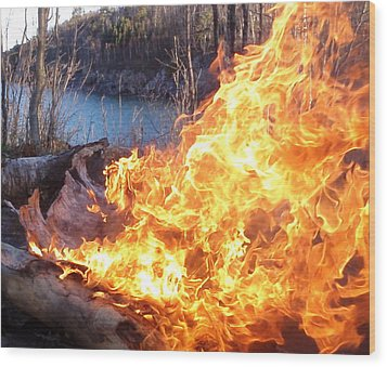 Wood Print featuring the photograph Campfire by James Peterson