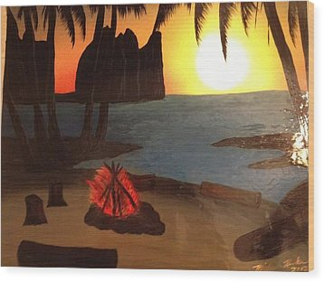 Wood Print featuring the painting Campfire by Michael Rucker