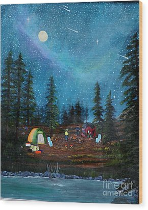 Wood Print featuring the painting Camping Under The Stars by Myrna Walsh