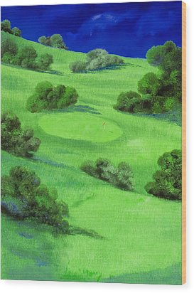 Campo Da Golf Di Notte Wood Print by Guido Borelli