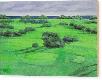 Campo Da Golf Wood Print by Guido Borelli