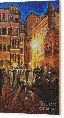 Campo Di Fiori- Italy Wood Print by Fanny Diaz