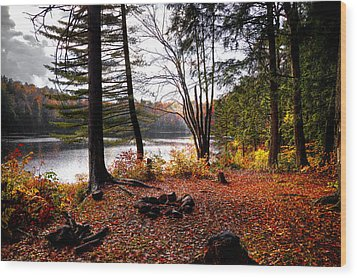 Campsite On Cary Lake Wood Print by David Patterson