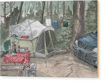 Campsite Wood Print by Sean Seal