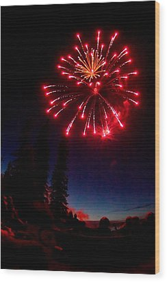 Wood Print featuring the photograph Canada Day Fireworks by Trever Miller