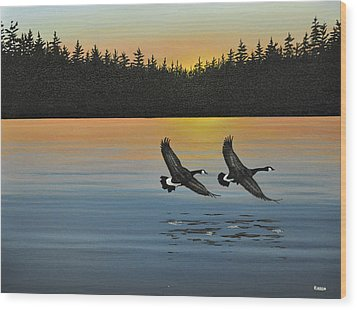Canada Geese Wood Print by Kenneth M  Kirsch