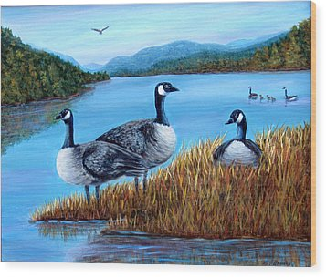 Wood Print featuring the painting Canada Geese - Lake Lure by Fran Brooks