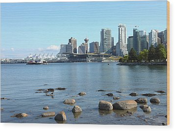 Canada Place And The Vancouver Bc Skyline Canada. Wood Print by Gino Rigucci