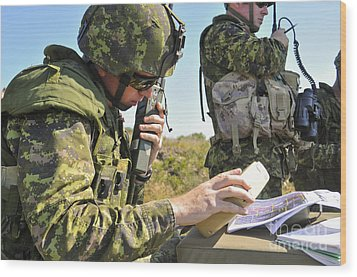 Canadian Army Captain Radios A Close Wood Print by Stocktrek Images