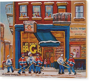 Canadian  Artists Paint Hockey And Montreal Streetscenes Over 500 Prints Available  Wood Print by Carole Spandau
