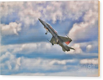 Wood Print featuring the photograph Canadian Cf18 Hornet Taking Flight  by Cathy  Beharriell