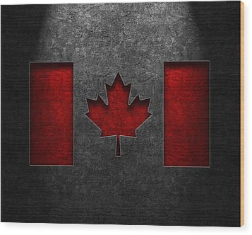 Canadian Flag Stone Texture Wood Print by Brian Carson