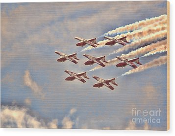 Wood Print featuring the photograph Canadian Forces Snowbirds 2013 Upside Down Formation by Cathy  Beharriell