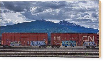 Canadian Freight Train In Jasper Wood Print by Stuart Litoff
