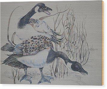 Canadian Geese Wood Print by Dorothy Campbell Therrien