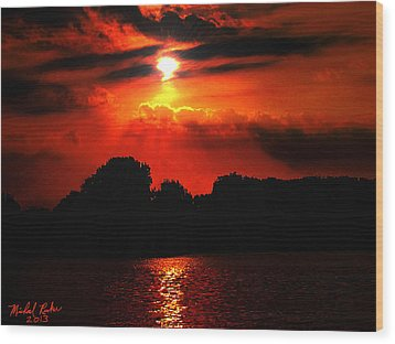 Canadian Sunrise Wood Print by Michael Rucker