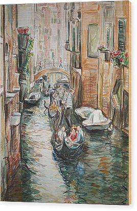 Wood Print featuring the painting Canal 3 Row A Boat by Becky Kim