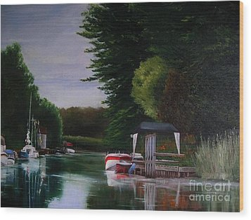 Canal At Dawn Wood Print by Ronald Tseng