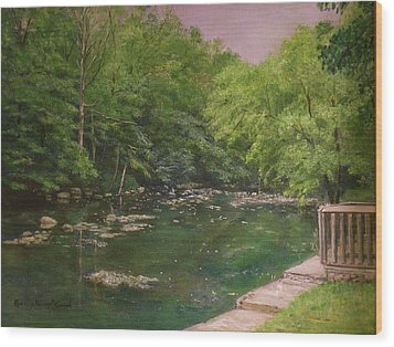 Canal At Prallsville Mills Wood Print by Aurelia Nieves-Callwood