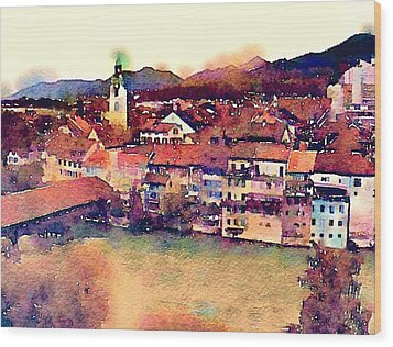 Canal At Thurgau Wood Print by Susan Maxwell Schmidt