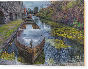 Canal Boat Wood Print by Adrian Evans