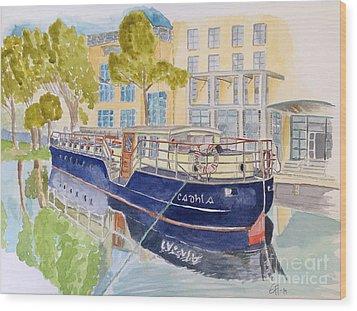 Canal Boat Wood Print by Eva Ason