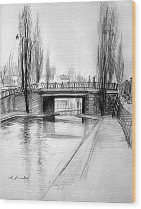 Canal Bridge In Paris Wood Print by Mark Lunde