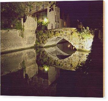Canal Bridge Reflection Wood Print