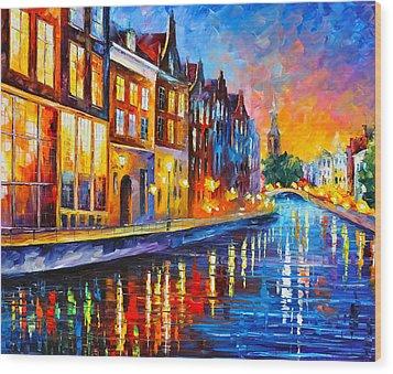 Canal In Amsterdam Wood Print by Leonid Afremov