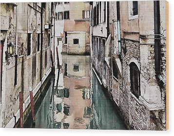 Wood Print featuring the digital art Canal In Venice by Kai Saarto