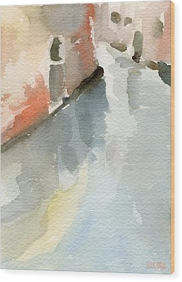 Canal Reflection Watercolor Painting Of Venice Italy Wood Print by Beverly Brown