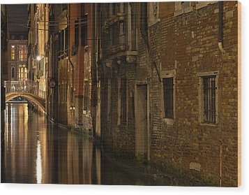 Canal Reflections Wood Print by Marion Galt