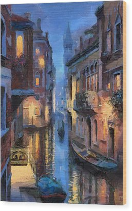 Canale Venice Wood Print