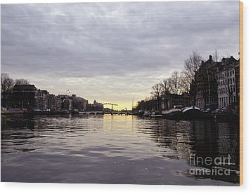 Canals Of Amsterdam Wood Print by Pravine Chester