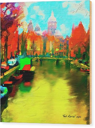 Canals Of Amsterdam Wood Print by Ted Azriel