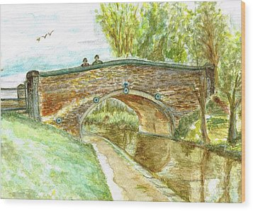 Wood Print featuring the painting Canal-bridal Path In Staffordshire  by Teresa White