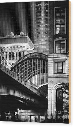 Canary Wharf Noir3 Wood Print by Jack Torcello