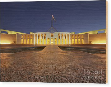 Canberra Australia Parliament House Twilight Wood Print by Colin and Linda McKie