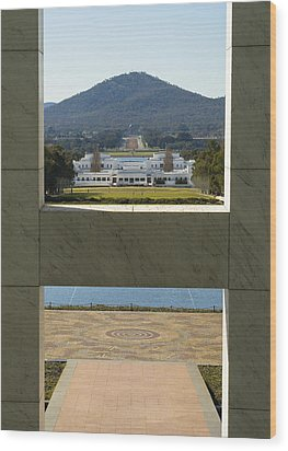Canberra - Parliament House View Wood Print by Steven Ralser