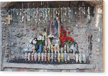 Candels And Rosaries Wood Print by Carla P White