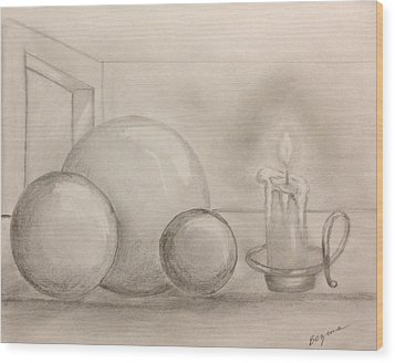 Candle And Balls Wood Print