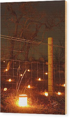 Wood Print featuring the photograph Candle At Wire Fence 2 - 12 by Judi Quelland
